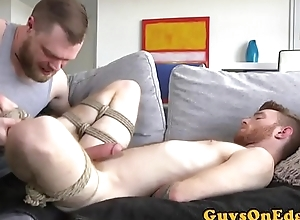Bound hunk rimmed waiting for cumshot