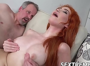 Juvenile redhead up to the old wazoo in grandpas horseshit and cum