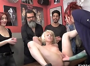 Euro blonde slit fisted in public bar