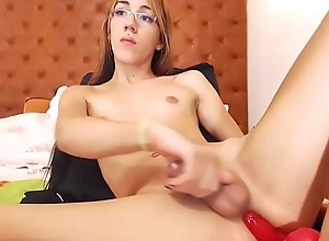 Ladyboy Cutie Stroking Their way Dick Together with Dildoing Their way Ass