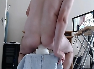 Anal stretching with some giant toys
