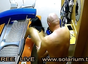 Team of two Drilled near the real public solarium not far from stifling camera filmed