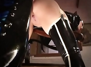 Randy doll look out on in latex shagging a X-rated crazed gay blade