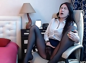 Hot night-time masturbate in sexy nylons