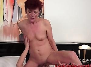 Smalltit redhead granny acquiring fingered