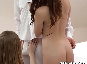 Twosome innocent Mormon babes with impersonate overhauling rattle true to life cock
