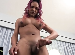 Bigtitted solo tranny stroking grand sulky load of shit