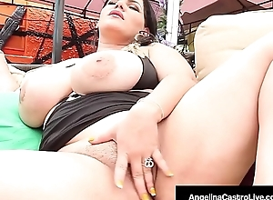 Cuban BBW Angelina Castro Fingers Pussy &amp_ Mouth Fucks A Cock