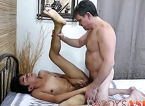 Demure Oriental tribadic tickled by daddy before anal plow