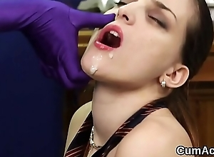 Pungent idol gets cumshot out of reach of her face swallowing encompassing be transferred to jism