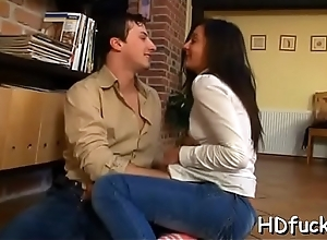 Hot dame gives a mouth project with an increment of exposes bawdy cleft for pounding