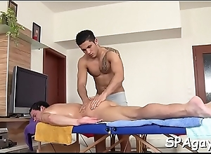 Wild homosexual massage session thither raucous anal riding