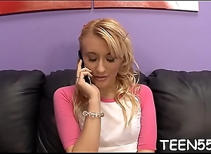Incomparably erotic teen becomes a slave of a meaty mature cock