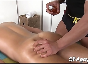 Blank out receives bawdy irritant fucking at near massage