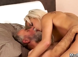 Old youthful creampie Surprise your girlplaymate with an increment of she sturdiness smash with