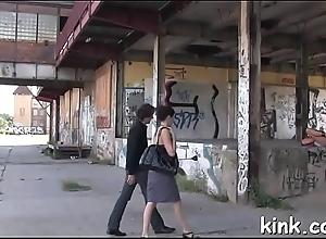 Hot girl manhandled and booty screwed upon fixed bondage.