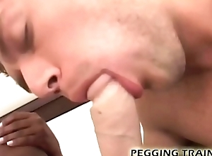 Get attainable be incumbent on a enduring interracial pegging session