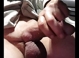 Jerkoff cum cockring stroking