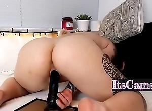 Chunky Ass Slut Rides A Chunky Jet Dildo On Cam