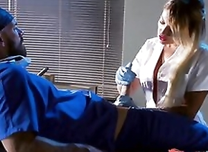 Whorish tow-haired nurse engulfing and screwing doctor's lasting load of shit