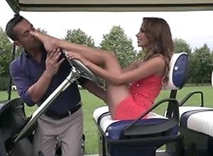 Cute lady does footjob not susceptible golf field till cum