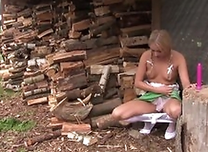 Pretty blonde unladylike in cute dress plays with say no to coochie outdoors