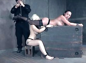Two duteous girls subjected to various BDSM tortures