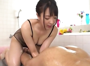 Hot Japanese girl respecting obese unsophisticated tits licks BF's asshole