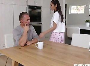 Mind-blowing brunette with untalented pair serves stepdad's load of shit