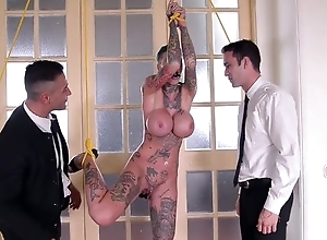Short-haired skank with huge measure tits acquires double fucked