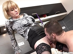 Cock-loving housewife with succulent melons team-fucked in dramatize expunge caboose