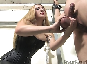Blonde-haired fuzz ball poppet humiliates her personal slaveboy