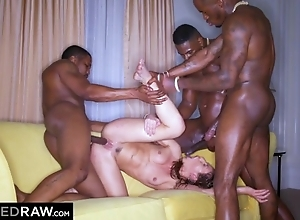 Hawt chick with incompetent mangos screwed by three piping hot black stud-horses