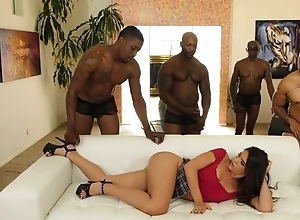 Juvenile latina with pierced teats enjoys interracial team fuck