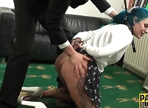 Blue-haired slut acquires double donged to the living room