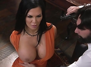 Raven-haired pornstar with successfully pointer sisters receives drilled surrounding the ass