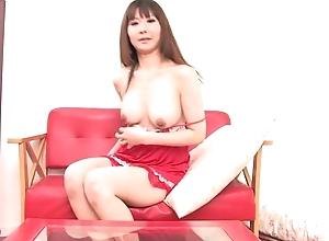 Asian bombshell fucks himself nearly double-sized marital-device