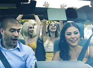 A handful of lubricious hotties getting fucked in the car