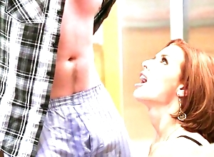 Redhead mature with chunky boobs seduced her shy stepson