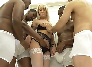 Slender beauteous unreserved in wan nylons get gangbanged