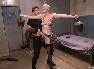 Bald-headed short-circuit in black nylons shagged in S&m fake