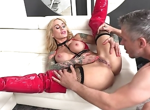 Tattooed MILF near broad in the beam honkers gets her pierced cookie drilled