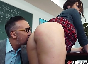 Greatest brunette takes teacher's knob in both holes