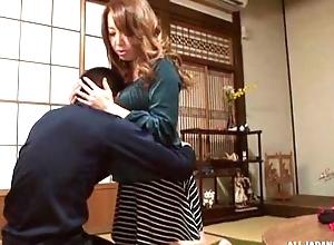 Sassy Japanese babe with awe-inspiring tits gratifying unwitting panhandler in POV