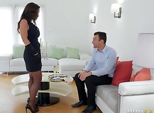 Charming MILF with reference to sexy stockings gets fucked with reference to one as well as the other holes