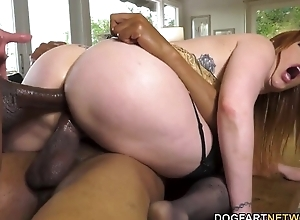 Busty redhead nympho almost stockings serves one fat black schlongs