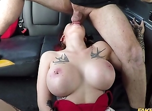 Big-breasted whore receives drilled by the brush cab driver