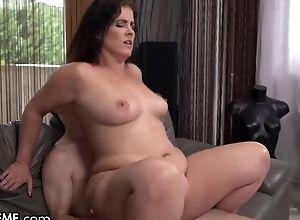 Slightly chubby MILF everywhere simple boobs copulates youthful wretch