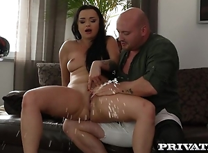 Bald-headed dude fucks whorish brunette coupled with makes their way squirt