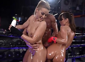 Two wild Serbian honeys get oiled all over and screwed changeless in hammer away gym